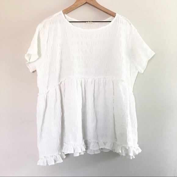 Entro Baby Doll Peplum White Summer Top Size Lg
